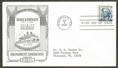 Us Fdc 1966 George Washington 5C Coil The Aristocrats D Lowry First Day Of Issue
