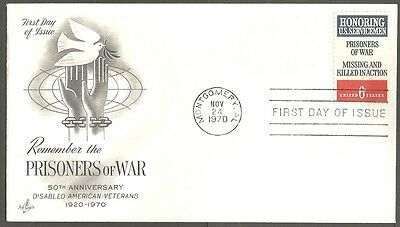 Us Fdc 1970 Prisoners Of War 6C Stamp Art Craft First Day Of Issue Cover