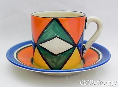 VINTAGE- **Early** BIZARRE CLARICE CLIFF - **GEOMETRIC** Coffee Can and Saucer