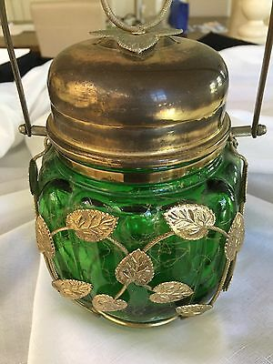 Vintage Musical Biscuit Barrel Or Lolly Jar - Green With Brass Fittings Ex Cond