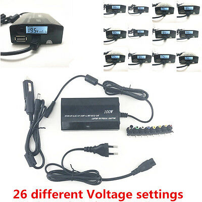 Universal 120W 8 Tips LCD Car Home Laptop Notebook Charger Power Supply Adapter