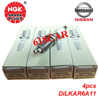 NGK set of 4 Spark Plugs Laser Iridium  DILKAR6A11 9029  22401-JA01B For Nissan