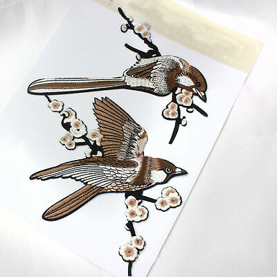 1* Bird Embroidered Patches Iron on Sewing Stripe for clothes applique