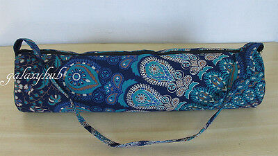 Indian Mandala Portable Yoga Mat Carry Bag With Shoulder Strap Blue Carrier Bags