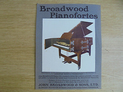 "1902 ad,broadwood pianofortes, john broadwood & sons,10.5x8 "",card like paper"