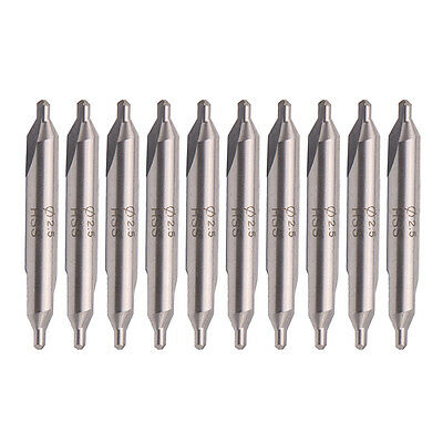 10x A-Type 2.5mm Tip HSS Combined Center Drill 60 Degree Angle Countersink Bit