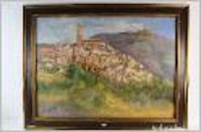 * A-206. Oil On Canvas. Landscape Of A Town. Signed.