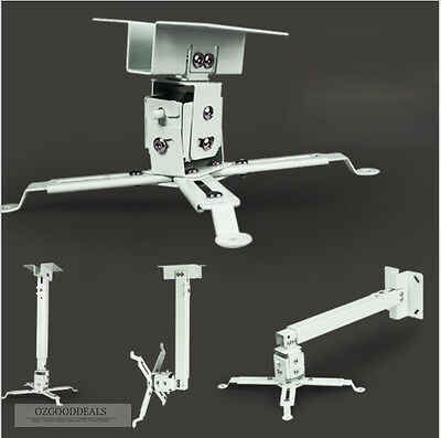 New Universal Wall Ceiling Mount Roof Bracket Stand White For HD Video Projector