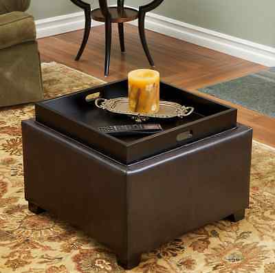 Ottoman with Storage and Tray Brown Leather Square - Ethan Storage Ottoman In Brown Leather With Burlap • $120.42