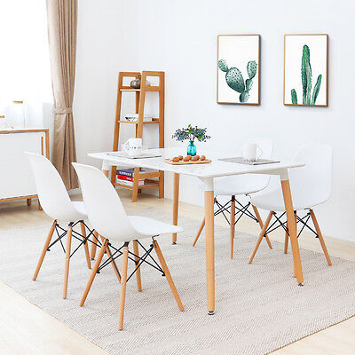 White Rectangle Dining Table and2/ 4 or 6 Plastic Lounge Chairs Living Room