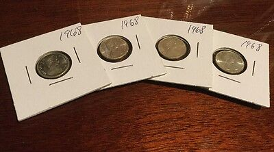 4 X 1968 Canadian Dime - Silver - Canada 10 Cent Coin