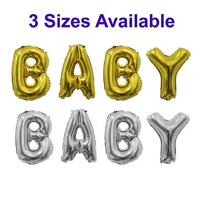 """Baby Balloons - Gold/Silver Foil Letters 16""""/32""""/40""""-Baby Shower Birthday Party"""