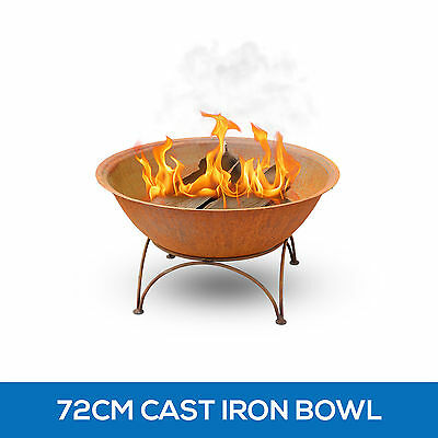Rusted Cast Iron Bowl 72cm Outdoor Fire Pit Fireplace Patio Heater