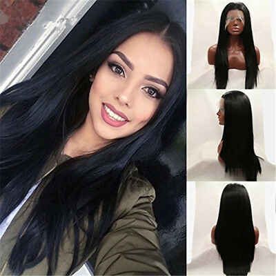 Long Lace Front Wigs For Women Full Straight Synthetic Wigs Natural Black Wigs
