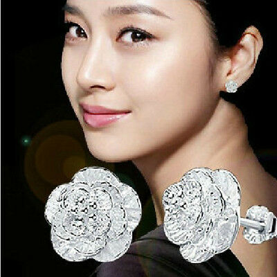 Women 925 Sterling Silver Flower Crystal Rhinestone Ear Stud Vintage Earrings UK