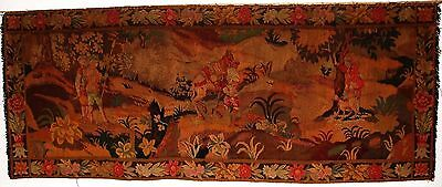 "Large Antique Handmade Aubusson Tapestry, Wall Hanging 7'4"" x 3'"
