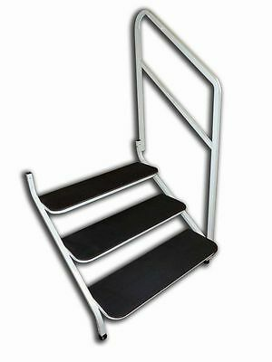 Static Caravan 3 Tread  Bolt On Steps in White with Handrail