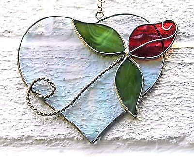 Hand crafted stained glass sun catcher. Rose Heart.