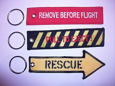 Pull To Eject / Remove Before Flight & Rescue Key Rings x3....