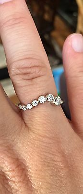 Sparkly Modernist Bespoke Six Diamond Ring Set In 18ct Gold Size N