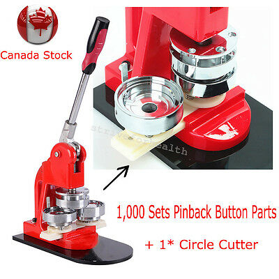 Canada SHIP!Interchangeable Button Badge Maker Circle Cutter + Pin Back Parts CE