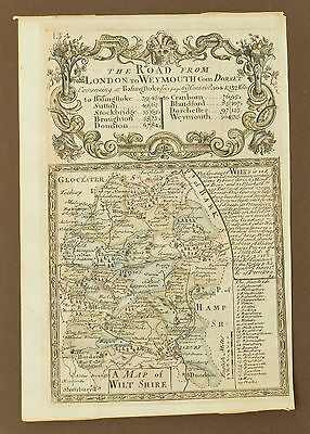 Original Antique Map of Wiltshire - by Owen & Bowen - Engraved County Map 1720