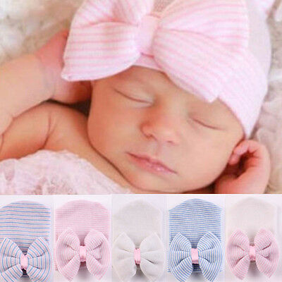 New Comfy Bowknot Hospital Cap Beanie Hat for Newborn Baby Girls Infant Toddler