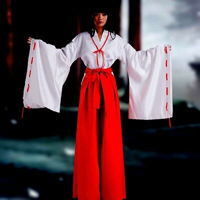 [wamami] Adult Woman Inuyasha Kimono Miko Anime Cosplay Costume Dress Red&White