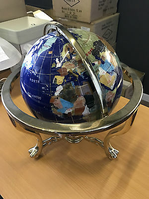 "Globe, Antique, 21"" Tall Globe of Earth, Made with Semi-Precious Stones"