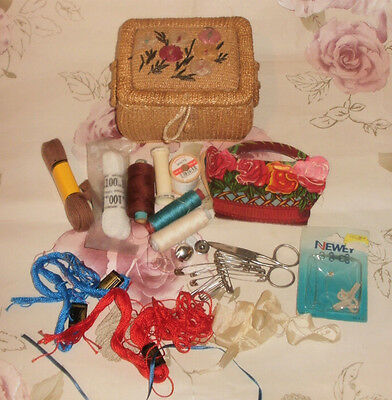 Vintage Sewing Basket Box and Contents Scissors Thread Hooks Buttons FREE POST
