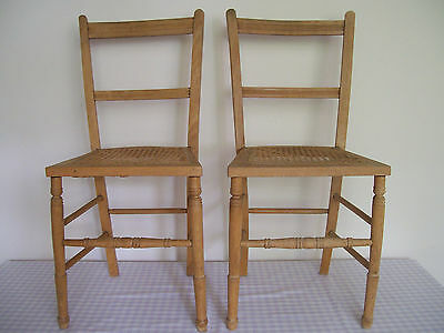 Pair of Vintage Edwardian Wooden Beech Bedroom or Occasional Chairs Cane Seats