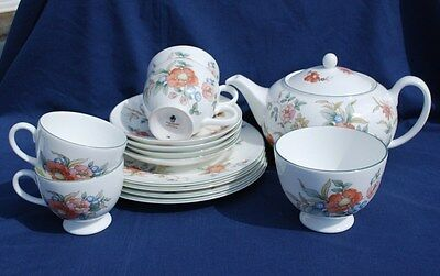 "WEDGWOOD ""PHILIPPA"" 14 Piece BONE CHINA TEA SET.Excellent Condition."