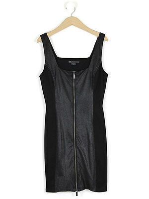 Armani Exchange Womens Black Zip Faux Leather Dress Size 6 (Uk 10)