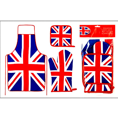 Union Jack Set Schürze Topflappen Ofenhandschuh Set Apron Pot Holder Oven Mitt