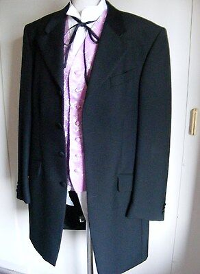 Wild West Gambler cowboy outfit set black frockcoat and pink paisley waistcoat