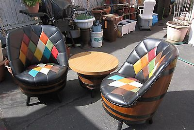 Amazing Pair of Mid Century Barrel Swivel Chairs with Table $199 Grab!
