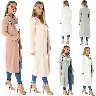 Womens Long Sleeve Open Front Duster Coat Waterfall Ladies Trench Coat Jacket