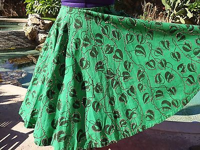 "Vintage 1950s Mexican handpainted circle skirt sequins M 30"" W cotton emerald"