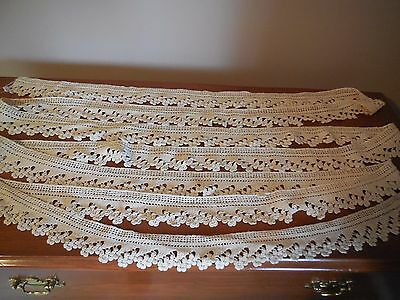 "Vintage 1930's Hand-made Ecru Lace Trim -  232"" long and 2 1/4"" wide"