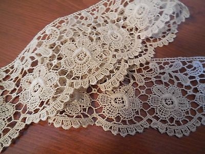 "Beautiful Vintage 1930's Hand-made Ecru Lace Trim -  261"" long and 2 1/2"" wide"