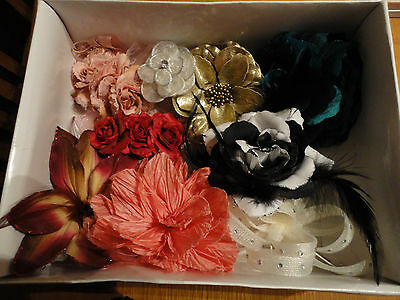 9 Assorted Vintage & Modern Used Hair Flowers/fascinators/clips/brooches