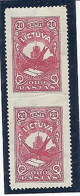 Lithuania - Scott #C-37a - Mint-Hinged - Very Fine - Imperf Pair -Vertical.
