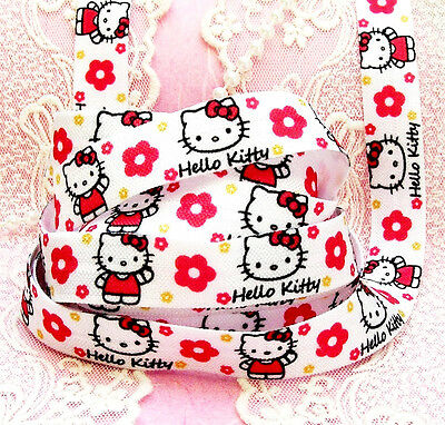 ❤️lot Exceptionnel 10M (0,59 Eur M)  Ruban Élastique Hello Kitty 10Mm