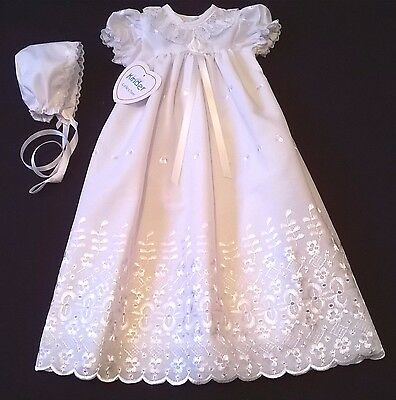 Gorgeous broderie anglaise premature tiny baby christening gown white and bonnet