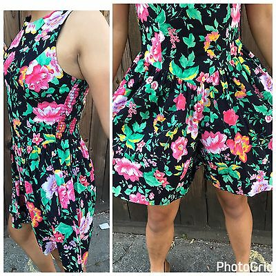 Vintage 80s FLORAL Wide Leg Retro Shorts Hawaiian Romper Jumpsuit Size 7 Small