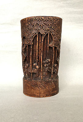 LARGE VINTAGE CHINESE CARVED BAMBOO BRUSH POT wooden treen antique