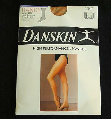 Vtg 90s DANSKIN NIP Ultra Shimmery Footed Toast Nude Dance Exercise Tights Sz A