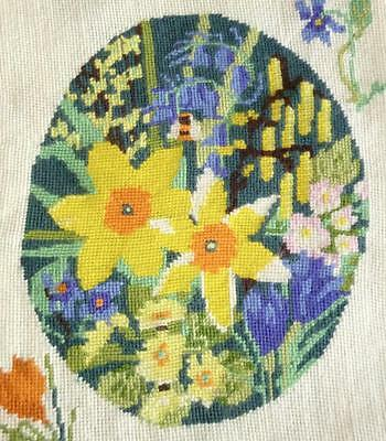 "Vintage ""four Seasons"" Daffodils Etc Motifs Beautifully Embroidered  Panel"