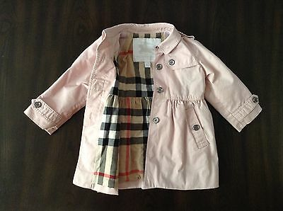 Burberry 12m pink TRENCH jacket  dress coat 12 months  toddler girl Authentic