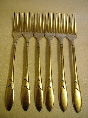 Antique Silverplate Forks Grille Set of 6 Lady HAMILTON Community 1932